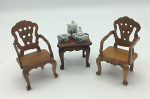 Pair Of Dolls House Chairs And Side Table With Accessories