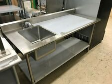 Kcs Ws-3072Wsr 72� Stainless Steel Work Prep Table with Sink on Left with Faucet