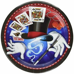 """Magic Party Magician Illusion Trick Kids Birthday Party 9"""" Paper Dinner Plates"""