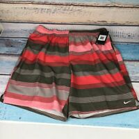 Nike Mens 2XL Red Striped Swim Trunks Shorts With Liner Pockets  NWT $54