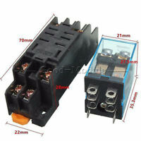 DC 12V Coil Power Relay LY2NJ DPDT 8 Pin HH62P JQX-13F With Socket Base