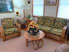 Vintage 6 Piece Set Sofa Lamp Seat Table Mid Century Modern Bamboo Rattan 50 60s
