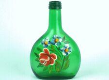 FRANKEN Small Green WINE BOTTLE Hand Painted FLORAL DESIGN Germany