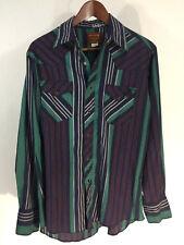 Vintage Rustler Western Shirt Color Block Cobalt Snap 15.5 34/35 X-Long Tails