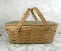 "Vintage Wicker Rattan Woven Wood Picnic Basket Bentwood Handles 19"" x 13"""