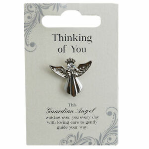 Thinking Of You Silver Coloured Angel Pin With Gem Stone Sentimental Gift Idea