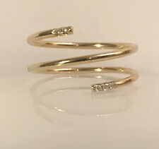 14k Yellow Gold White Genuine Diamonds Midi Knuckle Spring Band 1mm Polish Ring