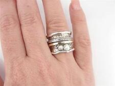 Hadar Designers White Pearl Ring sz 7,8,9,10 Handmade 9k Yellow Gold 925 Silver