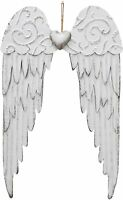 Angel Wings Wall Decoration, Antique Metal Angel Wings Wall Decor With Heart