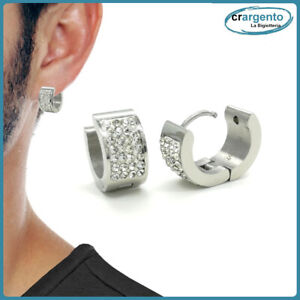 orecchini cerchio acciaio inox con zirconi uomo donna a da in cerchietto argento