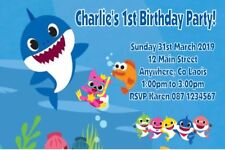Personalised Baby Shark Themed Invitations