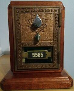Vintage U.S. Post Office Box Glass Brass Wood Piggy Coin Bank