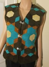 Vintage Boho Woodstock Suede Womens Vest stitched flower pattern brown blue tan