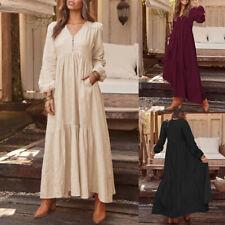 Damen Mode V Neck Langarm Kleid Maxikleid Patchwork Pocket Baumwolle Tunikakleid
