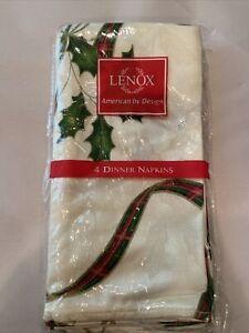 Lenox Holiday Nouveau Napkins Set of 4 Napkins Plaid Gold Ribbon New
