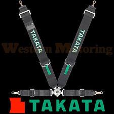 Takata Seat Belt Harness: Race 4-Point ASM - Black (Bolt-On) 71001US-0