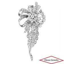 Vintage 4.34ct Diamond Platinum Floral Ribbon Design Pin 25.6 Grams NR