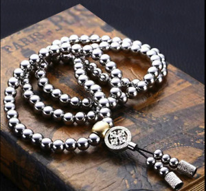 Stainless Steel Titanium 108 Buddha Beads Necklace Chain Self Defense For Men