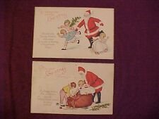2 Christmas Postcards featuring Santa Playing with Children Hide-and-Seek Sweet!