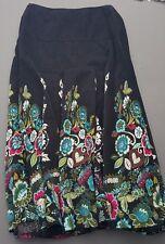 Acorn Circle Skirt Black Pinwale Corduroy Multi-Color Floral Small Size 2