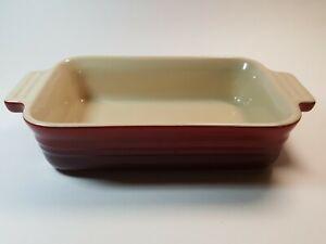 "Le Creuset Stoneware Small Rectangular Casserole Baking Dish Cerise Red 5"" x 7"""