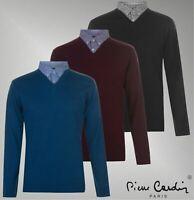 Mens Pierre Cardin Checks Stripes Long Sleeve Top Mock V Neck Knit Sizes S-4XL