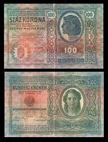 Austria-Hungary ÖSTERREICH  100 Kronen Korona 1912 Banknote