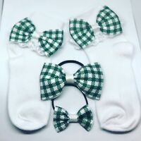 Handmade Frilly School Sock And hair bow set