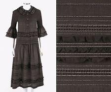 ISSEY MIYAKE Cauliflower 2 Pc Brown Crinkle Pleated Blouse Skirt Dress Set