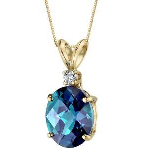14 Kt Yellow Gold Oval 3.25 cts Created Alexandrite Diamond Pendant
