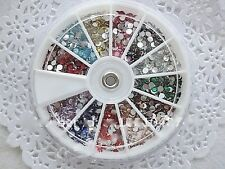 Acrylic 12 Mix Color Rhinestone Glitter Nail Art Decoration ( 1wheel box )