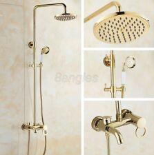 Polished Gold Brass Bathroom Rain Shower Faucet Set Bathtub Mixer Tap 8gf414