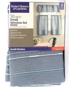 Better Homes & Gardens Blue & White Small Window Set Rod Pocket Valance & Tiers