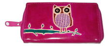 Purple Owl Themed Leather Coin Purse 5.5 By 3 Inches New