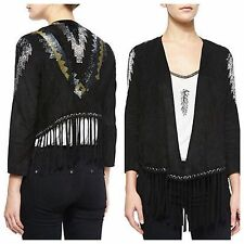 NWT $1195 Haute Hippie Suede Leather Fringe Beaded Sequin Embellished Jacket S