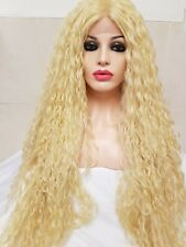 Light Bleach Blonde Crimped Human Hair Wig, big afro perm lace front