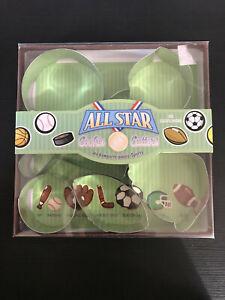 7 Fox Run All Star Cookie Cutter Set Bat Glove Hockey Stick Soccer Helmet NIB