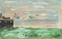 VINTAGE ORIGINAL WATERCOLOUR PAINTING of SHIP BUTESHIRE at SEA by KEMP POSTCARD