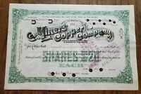 1899 Miners Copper Company New Jersey Stock Certificate
