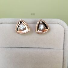 0.19cts Natural Diamond 18K Rose Gold Triangle Earring/Stud12.5x12.5mm TW17.3cts
