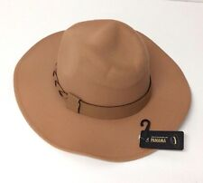 Men Women Winter Panama Fedora Hat Wide Brim Wool Blend Trilby Cowboy Cap Camel