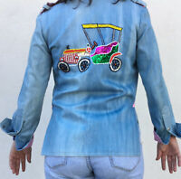 Vintage VTG 1970s 70s Novelty Beaded Chambray Denim Button Up Top Jacket