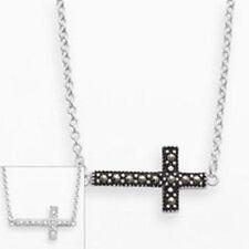 Reversible Marcasite Cubic Zirconia Sideways Cross Necklace Fine Silver Plated