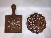 Vintage Kitchen - Wooden Trivet - Hand Carved Solid Wood w/ Inlay - Ornate