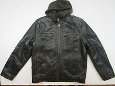LEVIS dark brown Jacket Coat  faux Leather built in hoodie sweatshirt Sherpa Med