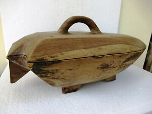 "Antique Wooden Rice Container Bowl With Lead South Indian Rare Collectibles ""F"