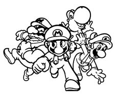 Super Mario Brothers Yoshi 3D Wall Decal Game Room Childs Bedroom -Black Outline
