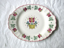 "American Limoges OLD DUTCH 13.75"" x 11"" Oval Platter, Dark Red Tulips, c. 1940s"