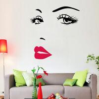 Wandtattoo  Wandsticker dekorativ Moderne Frau  Gesicht Schwarz Rot Weiß !!!
