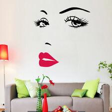 Wandtattoo Wandsticker dekorativ Moderne Frau Gesicht Schwarz Rot Weiß Gesicht